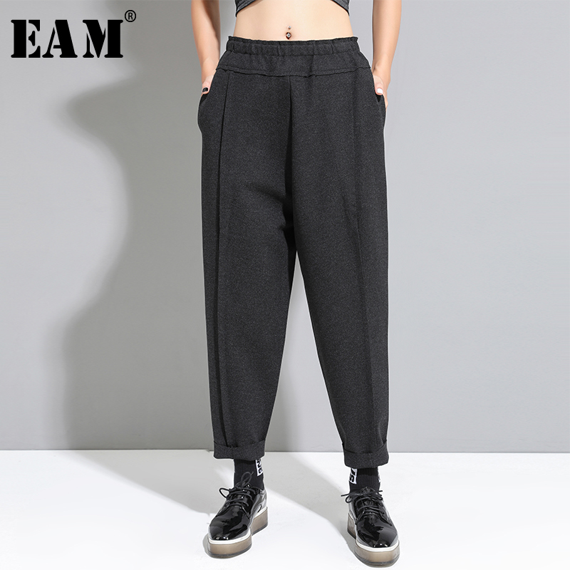 [EAM] High Elastic Waist Black Pocket Trousers New Loose Fit Harem Pants Women Fashion Tide All-match Spring Autumn 2020 1A939