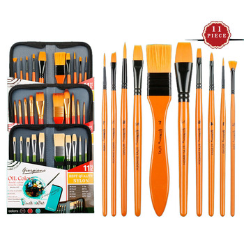11 pcs Imported nylon hair Multi-function brushes Safety Paint watercolor oil painting acrylic with cloth bag Artist - discount item  10% OFF Art Supplies