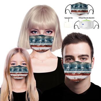 Washable PM2.5 cotton national flag print face mask Anti-bacterial Dust-proof Flu mouth mask mouth muffle filter
