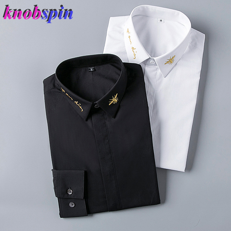 Europe Fashion Brand Men Shirt 2019 Solid Color Slim Chemise Homme Manche Longue Gold Bee Embroidery Shirts Men High Quality