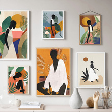 Fashion Girl Silhouette Flower Wall Art Canvas Painting Nordic Posters And Prints Abstract Wall Pictures For Living Room Decor abstract girl figure leaves flower boho wall art canvas painting nordic posters and prints wall pictures for living room decor