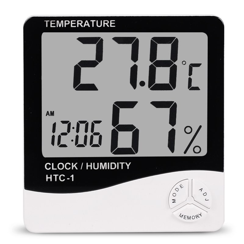 HTC-1 Indoor Room LCD Electronic Temperature Humidity Meter Digital Thermometer Hygrometer Weather Station Alarm Clock HTC-1