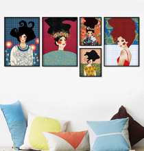Abstract Girl Hair Flower Deer Fish Wall Art Canvas Painting Vintage Nordic Posters And Prints Pictures For Living Room