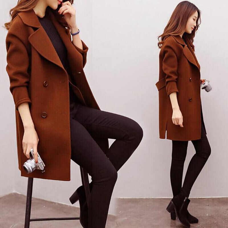 Áo Len Áo Liền Quần Thu Đông Cashmere Outerwea Len Pha Ấm Áo Dài Phối Plus Size Nữ Slim Fit Lưng R