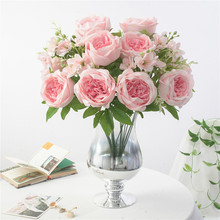 6 Heads Big Bouquet Artificial Peonies Flowers + 3 Small Silk Fake Peony Rose Flower Wedding Home Decoration