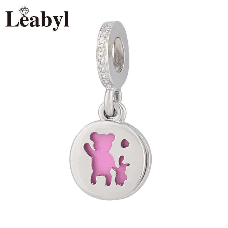 Leabyl חדש עיצוב ורוד אמייל מיקי אמא ילד חרוז תליון fit צמיד צמיד שרשרת עגול משפחת קסם תליון לתכשיטים