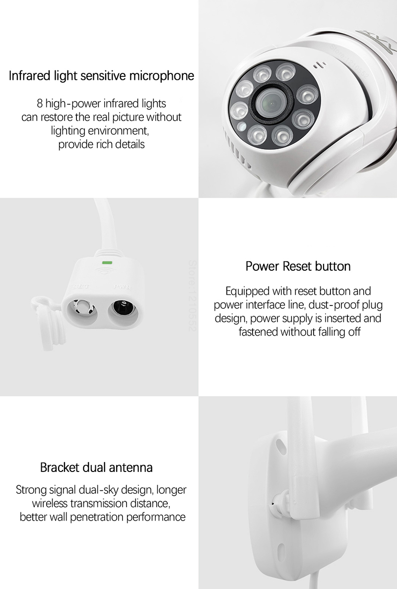 Xiaomi P1 IP Camera PTZ Action Camera IP65 Infrared 8 Night Vision Rotation 1080P HD Image Quality Lights Stand By Mi Home App