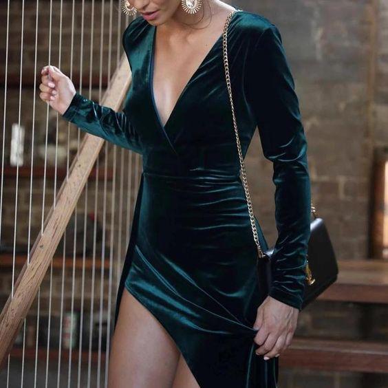 Velvet Prom Dresses 2021 Long Sleeves V Neck High Split Side Formal Evening Party Dress Celebrity Gown платья знаменитостей