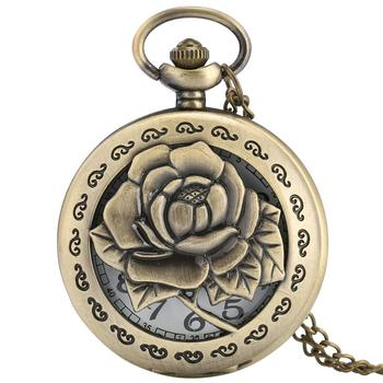 Vintage Carving  Rose Quartz Pocket Watch Exquisite in Full Bloom Hollow Necklace Chain Women Accessory Lady Bronze Clock Gift vintage carving rose quartz pocket watch exquisite in full bloom hollow necklace chain women accessory lady bronze clock gift