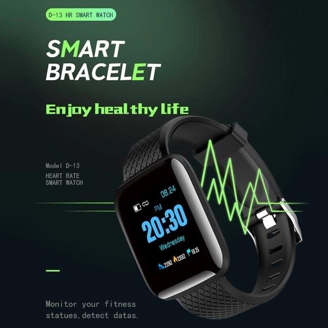 Reloj inteligente D13, reloj de pulso, presión arterial, monitor, seguidor Fitness IP67, pulsera inteligente deportiva impermeable
