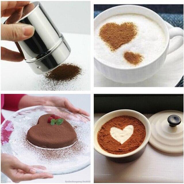 Secoueur en poudre de chocolat + 16 pièces | Sel de farine, tamis sucre condiments, bouteille, bouteille de chocolat, pochoir à café, modèle plumeau café en Spray