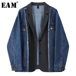 [EAM] Frauen Blau Denim Split Große Größe Blazer Neue Revers Lange Hülse Lose Fit Jacke Mode Flut Frühjahr herbst 2020 1U343