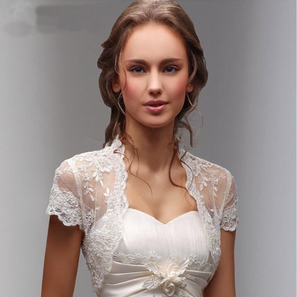 Short Sleeve Wedding Jacket Lace Hem Bride Party Bolero For Wedding Dresses Lace Bridal Coat Shawl