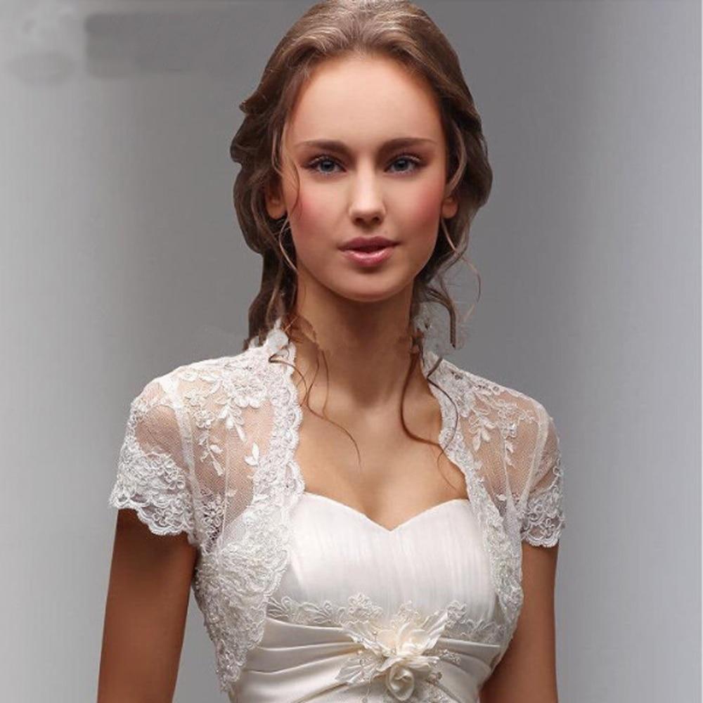 Short Sleeve Wedding Jacket Lace Hem Bride Party Bolero For Wedding Dresses Lace Bridal Coat Shawl