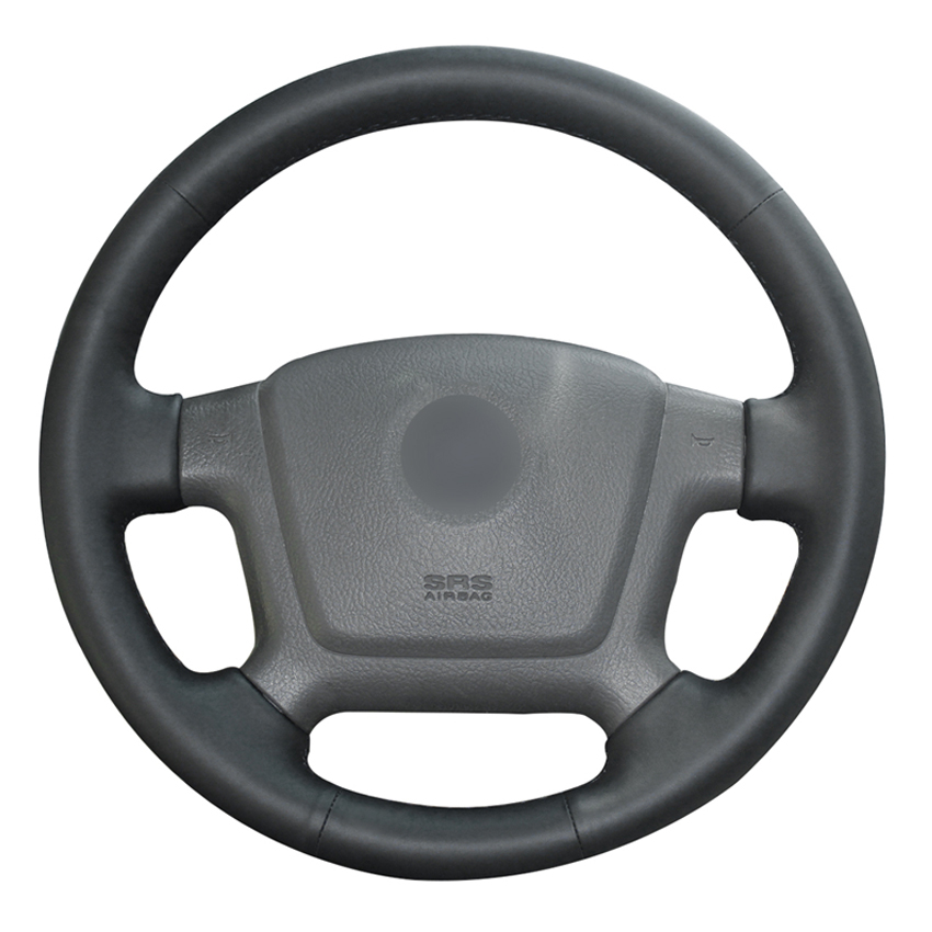 Black PU Faux Leather DIY Hand-stitched Car Steering Wheel Cover for Kia Cerato 2005-2012 Spectra Spectra5 2004-2009