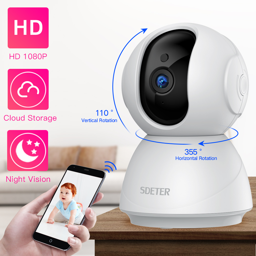 SDETER 1080P 720P caméra IP caméra de sécurité WiFi sans fil CCTV caméra Surveillance IR Vision nocturne P2P bébé moniteur caméra pour animaux de compagnie
