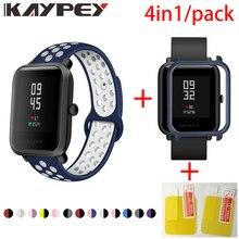 4in1 Dành Cho Xiaomi Huami Amazfit Bip Dây Đeo Silicone Mềm Băng Đeo Tay Thể Thao Đồng Hồ Thông Minh Smartwatch Vòng Tay PC Ốp Bảo Vệ Màn Hình