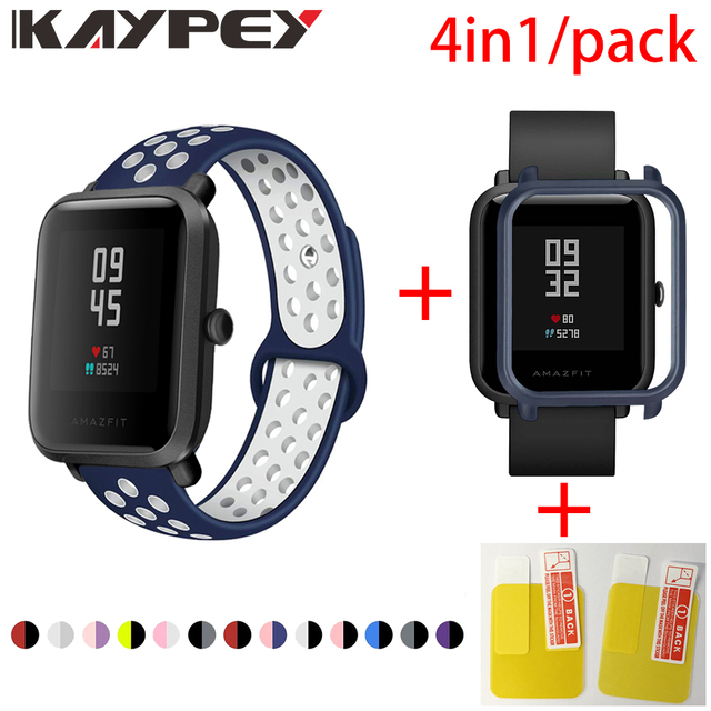 4in1 עבור Xiaomi Huami Amazfit ביפ רצועת רך סיליקון ספורט צמיד Smartwatch צמיד עם מחשב מקרה כיסוי מסך מגן