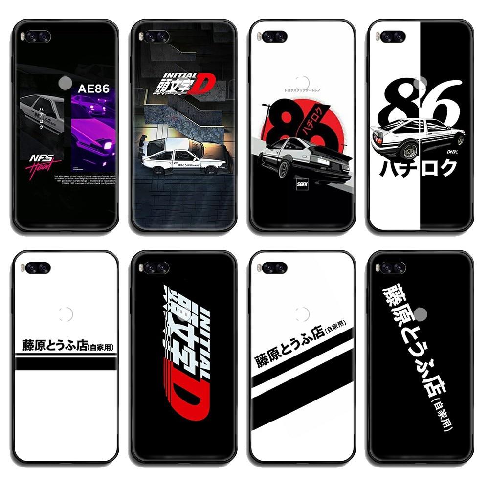 US $0.73 47% OFF Japan Initial D AE86 car coque black Phone case cover hull For Xiaomi Redmi Mi Note 3 5 6 8 9 A1 2 Max3 Mix2 X SE Lite ...