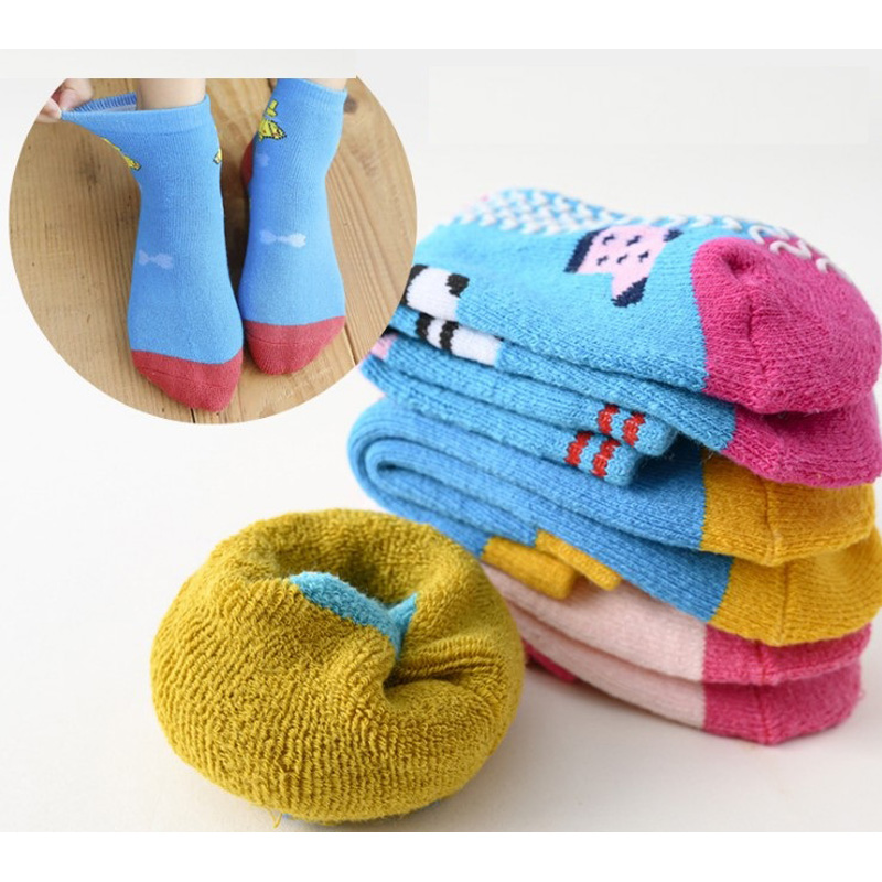 Children Socks Winter New Free Shipping 80% cotton non slip character kids Thickening sock 0-7year girl boy 6pair wholesales 2