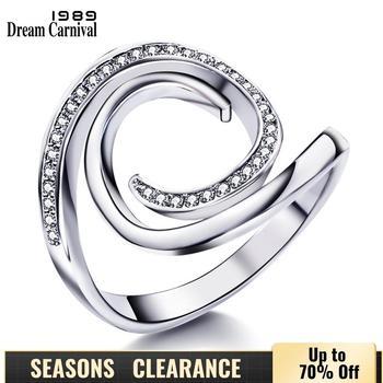 DreamCarnival 1989 Zirkon Charming Ring für Frauen Whirling Stil Rhodium Farbe Hohl Großhandel Preis Drop Ship Frauen WA11333