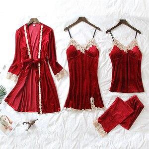 Image 1 - Conjunto de Pijama de terciopelo caliente JULYS SONG de 4 piezas, ropa de dormir Sexy de encaje para mujer, pijama, traje de noche de invierno con tirantes, ropa de dormir para mujer