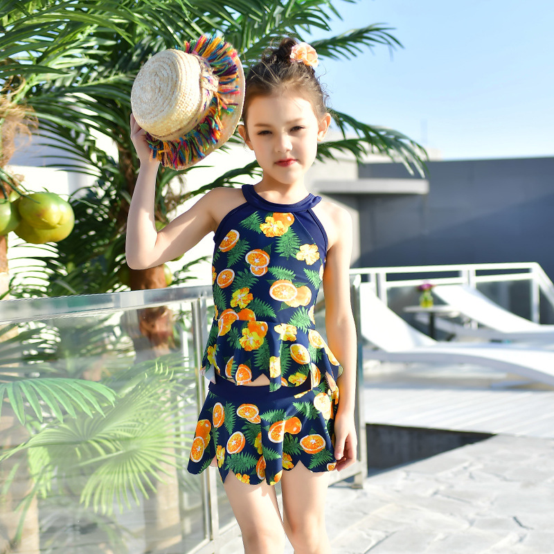 2018 New Style Hot Sales Split Type Two-Piece Bathing Suit Hipster Sweet Cute Hot Springs Korean-style Girls KID'S Swimwear