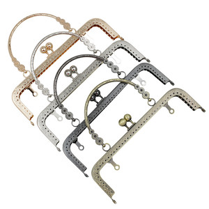 Image 1 - HAOFA 4pcs 20cm Small Flower Handle Sewing Purse Metal Frames Antique Accessories For Bag kiss clasp bag frame