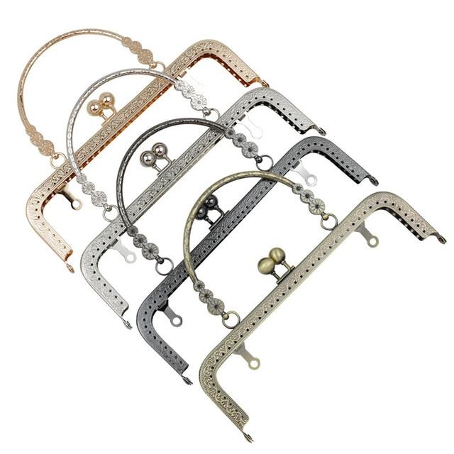 HAOFA 4pcs 20cm Small Flower Handle Sewing Purse Metal Frames Antique Accessories For Bag kiss clasp bag frame