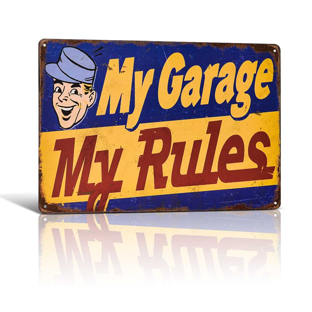 My Garage Rules Vintage Tin sign Art Poster Plate Pub Bar Home Wall Decor
