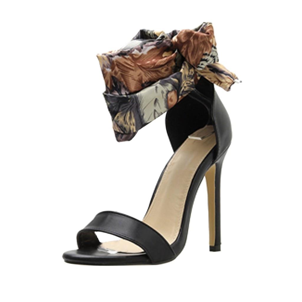Dames bateau chaussures en plein air Sport chaussures femmes été décontracté Colorblock croix soie sangle sandales talons hauts chaussures Sandale #525 - 3