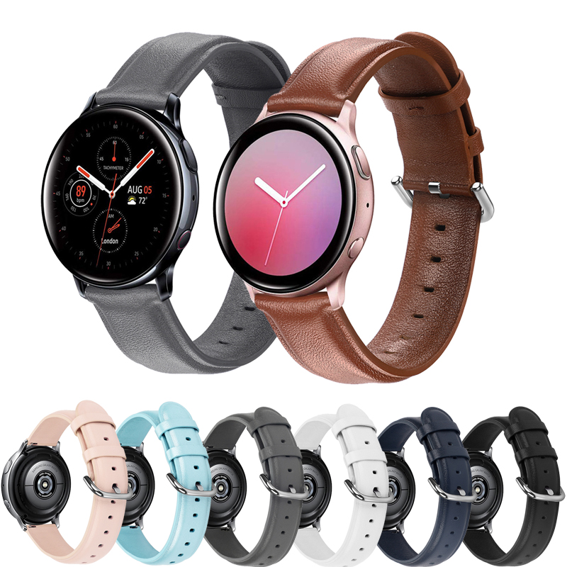 20mm 22mm Genuine Leather Watchband For Samsung Galaxy Watch 42mm Active Active2 40mm 44mm Quick Release Band Steel Clasp Strap