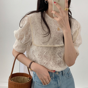Navy Style Lapel Embroidery Lace Cute 2020 Women Blouses Chic Lady Gentle Half Sleeves Sweet Girls Loose Shirt
