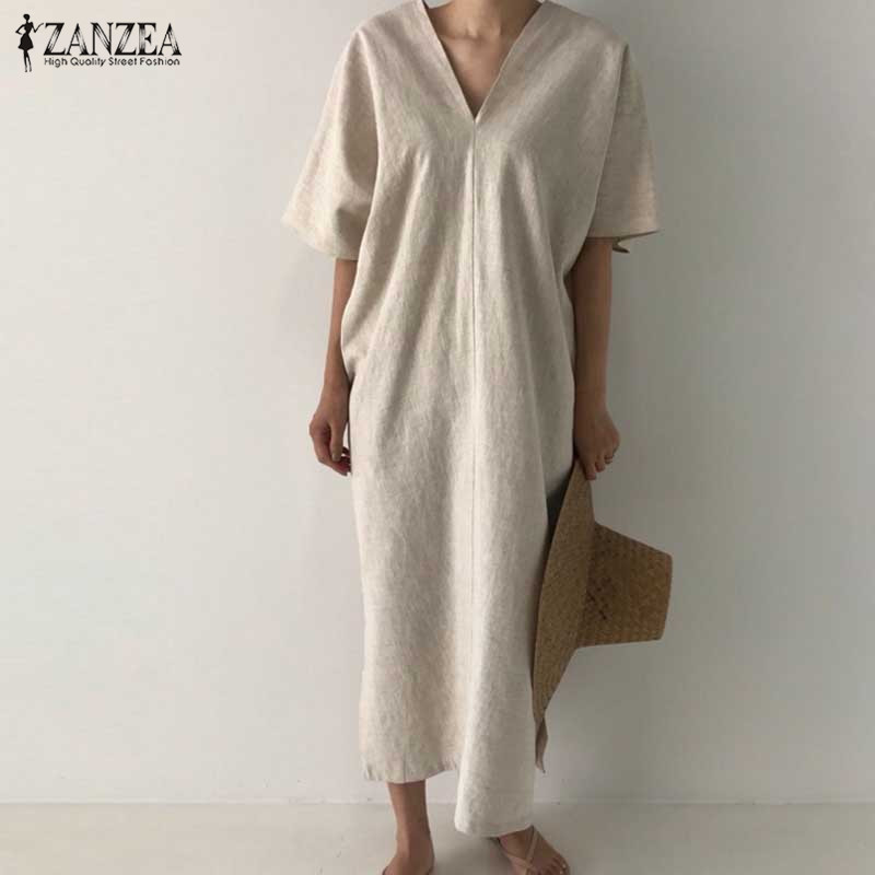 ZANZEA Women Elegant V Neck Solid Dress Summer Short Sleeve Split Hem Midi Sundress Cotton Linen Vestido Kaftan Robe Femme Dress
