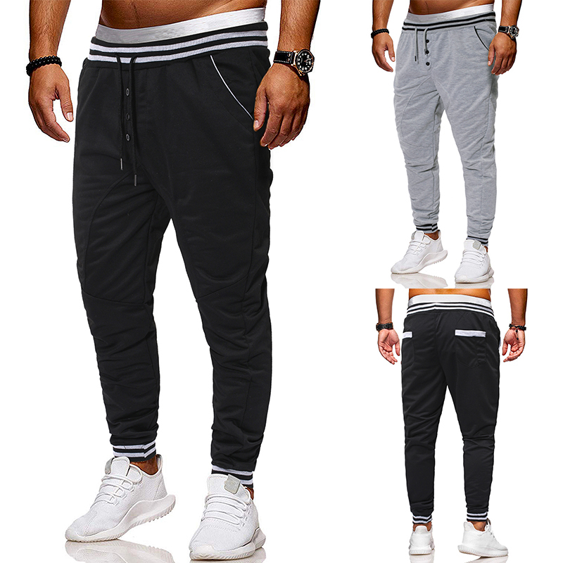 Men's Fashion New 2019 Men's Casual Trousers With Lacing Waist And Small Feet  Pants Men