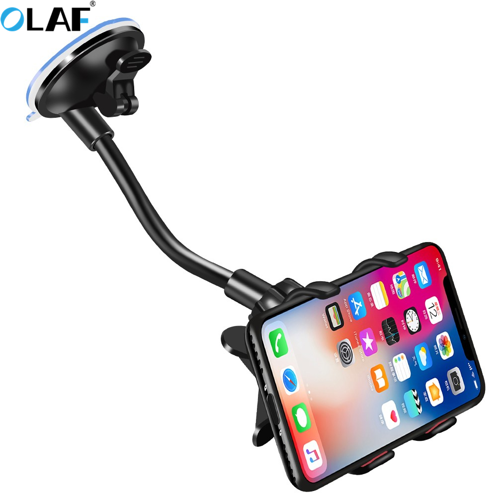 Car Phone Holder 360 Degree Rotate Mobile Phone Stand Car Mount For iphone 11 Pro XS X Windshield Long Arm Clip Phone Car Holder
