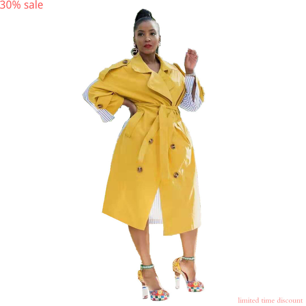 Yellow Trench Coats Womens Designer Coat Slim Bandage Patchwork Long Sleeve Long Coat Trench Sashes Overcoat Fall Clothes Women