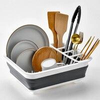 Disk Shelf Kitchen Rack Foldable Drainage Disk Basket Household Receiving Frame Drainage Basket Shelf Telescopic Bowl Shelf|Racks & Holders| |  -