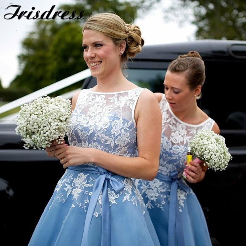 Sheer Scoop Short Bridesmaid Dresses 2019 Cheap Knee Length Maid Of Honor Dresses With Applique Lace Robe Demoiselle D'honneur