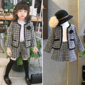 2019 Fashion 1-6Y Baby Girls Clothes Sets Autumn Winter Birthday Long Sleeve Plaid Coat Top+Shorts 2Pcs Party Warm Formal Outfit(China)