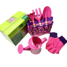 Children Outdoor Garden Toy Gardening Tool Set Kettle Gloves Garden Tool Toys For Girl Boy Pretend Toy Accessories Set-Pink Blue(China)