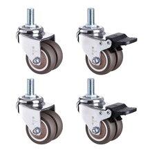 1,5/2 дюйма 360 градусов поворотные роликовые колеса сверхмощные роликовые колеса со стержнем M10 бесшумные колеса для тележек верстак