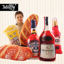 1pc Simulation Funny no smoking Hamburg Pizza wine bottle pillow Bread cushion pillow food stuffed toys Creative doll gift(China)