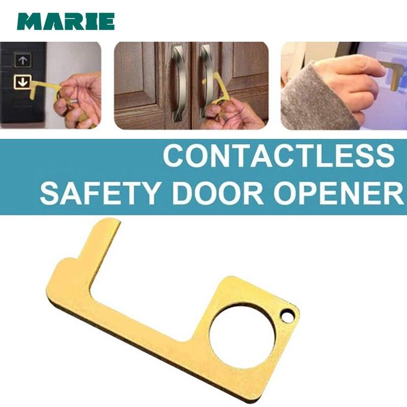 Marie Tragbare Keine Touch Türöffner Hygiene Antimikrobielle Key Messing Opener Kontaktlose Sicherheit Presse Aufzug Tür Griffe Werkzeug