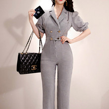2020 Summer Korea Ladies slim Plaid Notched Puff Short Sleeve High Waist Long Overalls OL Women Offi