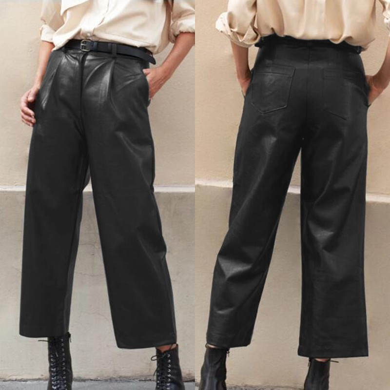 Plus Size Women's Wide Leg Trousers ZANZEA 2020 Stylish Faux Leather Pants Casual Button Zip Long Pantalon Female Black Turnip