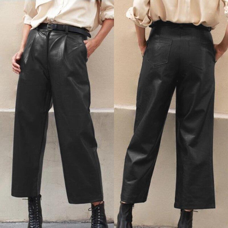 Plus Size Women's Wide Leg Trousers ZANZEA 2020 Stylish Faux Leather Pants Casual Button Zip Long Pantalon Female Black Turnip