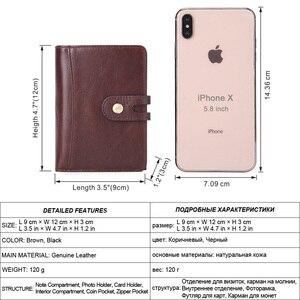 Image 2 - Flanker portefeuille 100% cuir véritable, Rfid, marque décontracté, court, porte monnaie, petits portefeuilles, fermeture éclair, sac à main