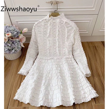 Ziwwshaoyu High End 100% Cotton White Cake Dress Womens Elegant Long Sleeve Cascading Ruffle Vintage Party Autumn Dresses