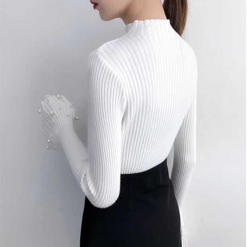 2019 panie perła dzianiny sweter z golfem Truien Dames zima kobiety Col Roul Femme Pulover Jersey Mujer